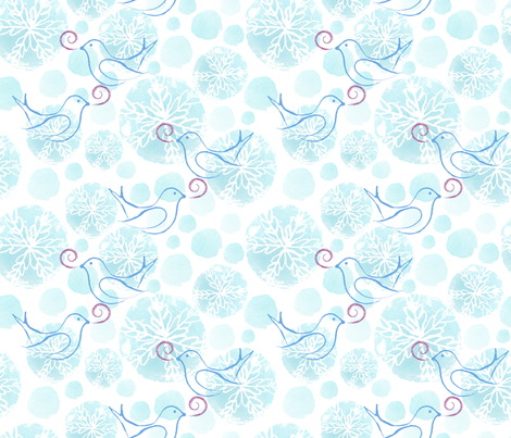 Song Birds Flurries fabric by snowflower on Spoonflower - custom fabric