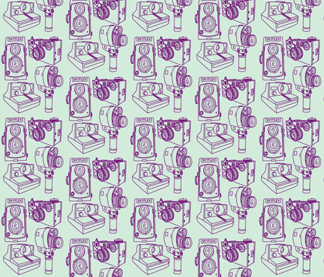 Cameras Mint Green & Grape Purple fabric by curious_nook on Spoonflower - custom fabric