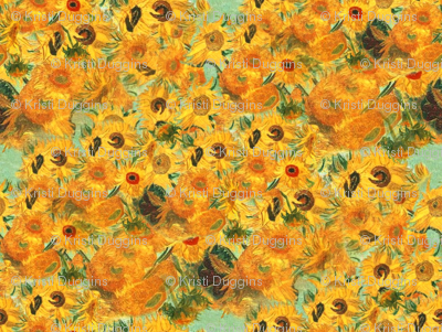 Van Gogh's Sunflowers on Pistachio Green