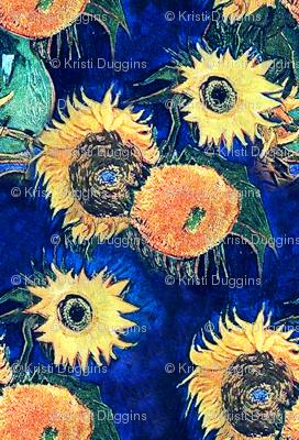 Van Gogh's Sunflowers on Royal Blue