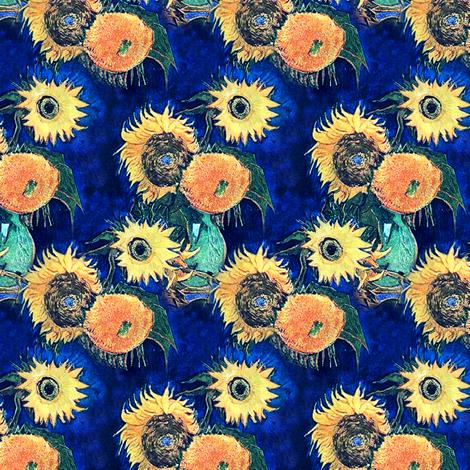 Van Gogh's Sunflowers on Royal Blue  fabric by bohobear on Spoonflower - custom fabric