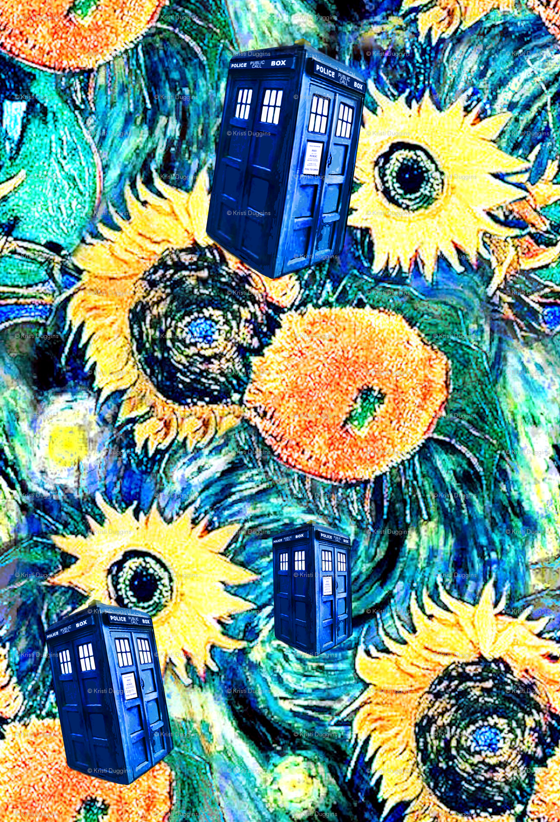 Van Gogh's Starry Night + Sunflowers Police Box wallpaper - bohobear - Spoonflower