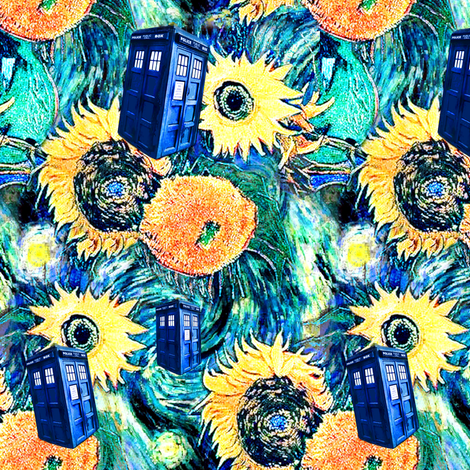Van Gogh's Starry Night + Sunflowers   Police Box fabric by bohobear on Spoonflower - custom fabric