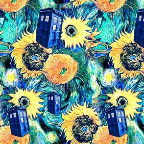 Van Gogh's Starry Night + Sunflowers   Police Box