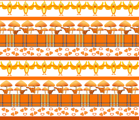 ORANGE GROVE PARADE fabric by bluevelvet on Spoonflower - custom fabric
