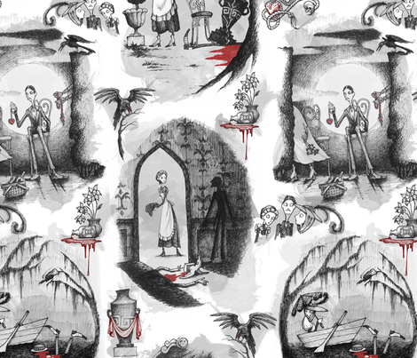 Murder is Afoot fabric by thecalvarium on Spoonflower - custom fabric