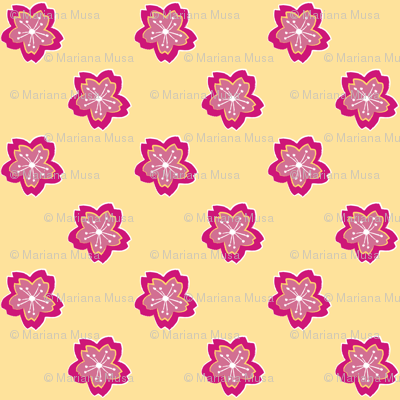 Sakura Batik Cherry Blossom on Pale Yellow