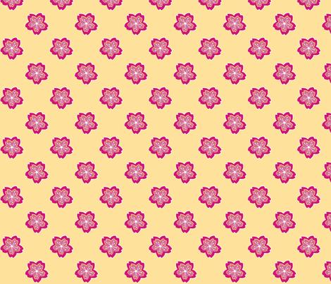 Sakura Batik Cherry Blossom on Pale Yellow fabric by floatinglemonsart on Spoonflower - custom fabric