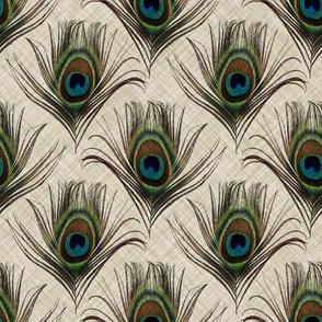 Peacock on linen