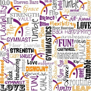 Gymnastics Words Purple & Orange