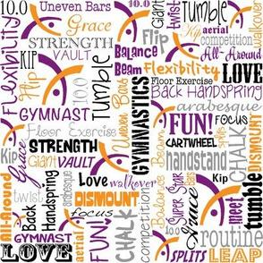 Gymnastics Words Purple & Orange