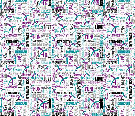 Gymnastics Words Purple & Teal fabric by heathertm13 on Spoonflower - custom fabric