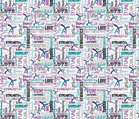 Gymnastics Words Purple & Teal fabric by heathertm13 on Spoonflower - custom fabric