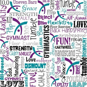 Gymnastics Words Purple Teal