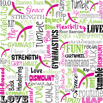 Gymnastics Words Pink & Green