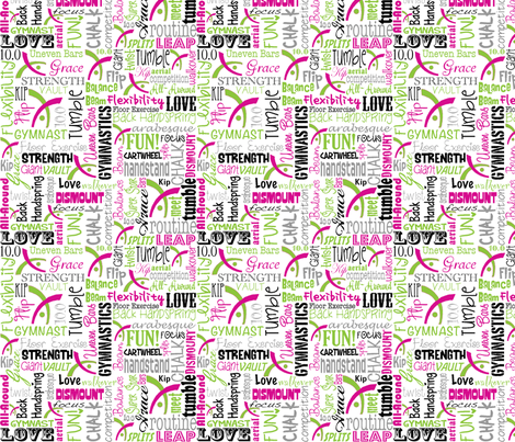 Gymnastics Words Pink & Green fabric by heathertm13 on Spoonflower - custom fabric