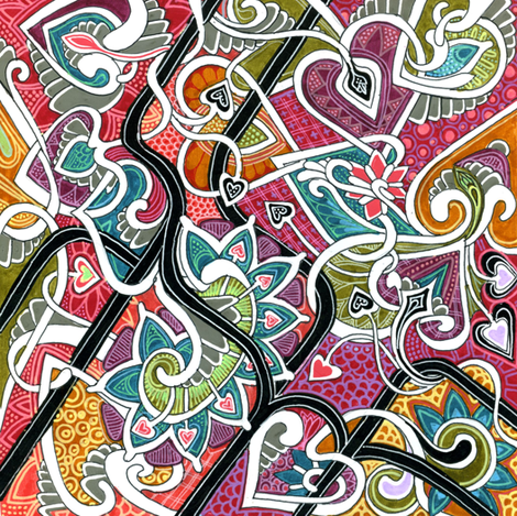 Doodling Heart Meander fabric by edsel2084 on Spoonflower - custom fabric