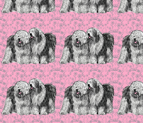 old_english_sheepdogs_with_flowers fabric by dogdaze_ on Spoonflower - custom fabric