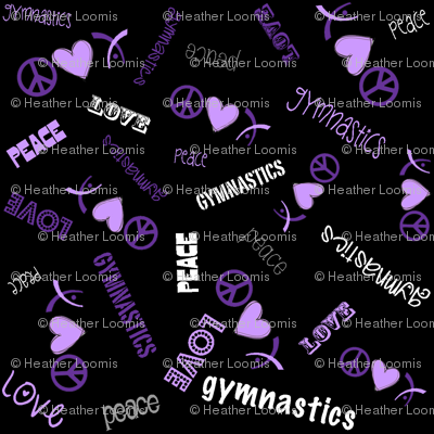 Peace Love Gymnastics Purple on Black
