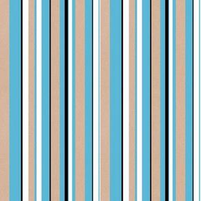 Heart Motif stripes white blue