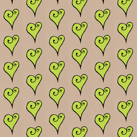 Heart Motif green hearts fabric by floating_lemons on Spoonflower - custom fabric