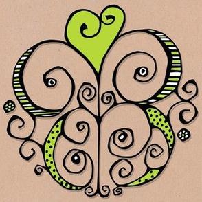 Heart Motif green