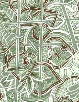 Green and Brown Tangled Tango