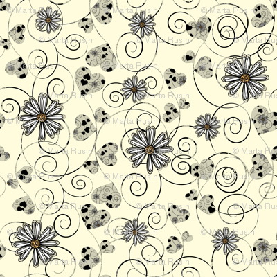 hearts and daisies