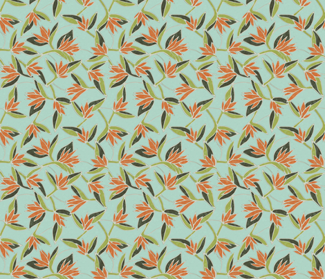 Ave_del_paraiso_aqua fabric by kirpa on Spoonflower - custom fabric