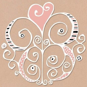 Heart Motif white pink