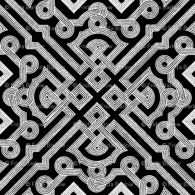 Embroidered Labyrinth in Black and White