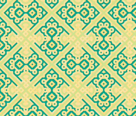Embroidered Labyrinth in Emerald, Gold and Lime fabric by fridabarlow on Spoonflower - custom fabric