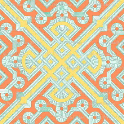 Embroidered Labyrinth in Peach and Yellow