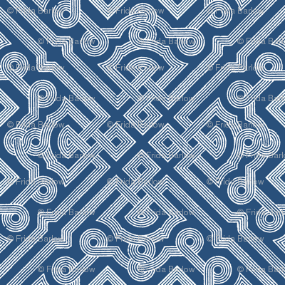 Embroidered Labyrinth in Royal Indigo