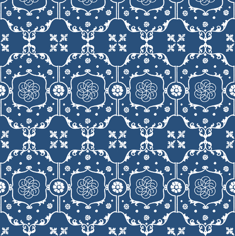 Shabby Frame in Royal Indigo Blue fabric by pearl&phire on Spoonflower - custom fabric