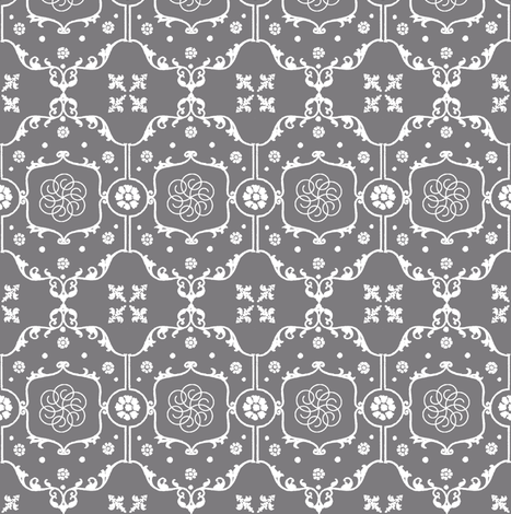 Shabby Frame in Steel Gray fabric by pearl&phire on Spoonflower - custom fabric