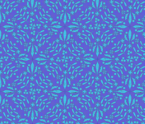 Leaves and Berries by 4 Twist scuffed blues fabric by glimmericks on Spoonflower - custom fabric