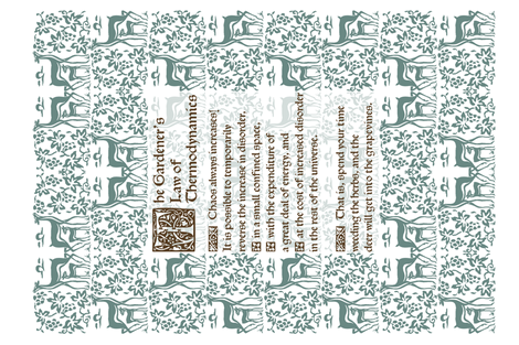 Gardeners Law of Thermodynamics teatowel - sepia text with green-172 fabric by mina on Spoonflower - custom fabric