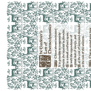 Gardeners Law of Thermodynamics teatowel - sepia text with green-172