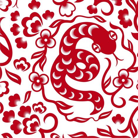 chinese snake fabric by anastasiia-ku on Spoonflower - custom fabric
