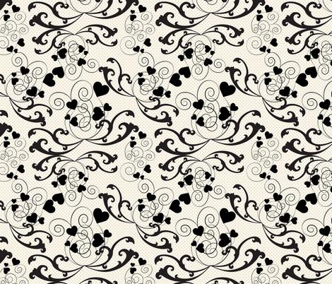 swirly hearts  fabric by kociara on Spoonflower - custom fabric
