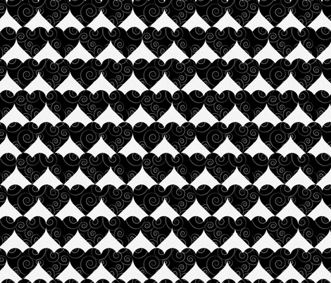monochrome heart fabric by kociara on Spoonflower - custom fabric