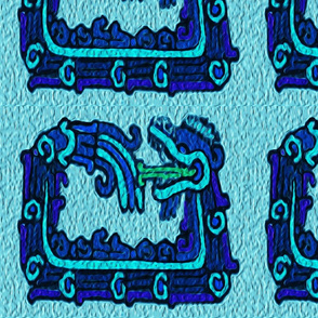 Mayan_snakes on blue background