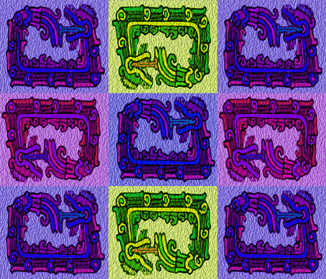 four_mayan_snakes fabric by m__elizabethblair on Spoonflower - custom fabric