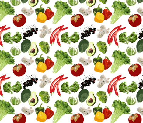 Fresh Vegetables & Fruits fabric by cutiecat on Spoonflower - custom fabric