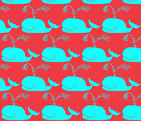 Big Blue on Red fabric by bettieblue_designs on Spoonflower - custom fabric