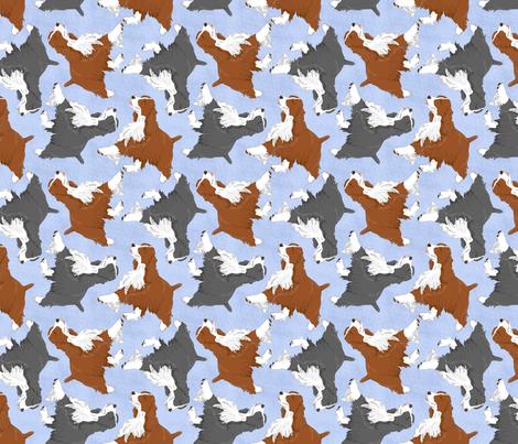 Trotting Springer Spaniels - blue fabric by rusticcorgi on Spoonflower - custom fabric