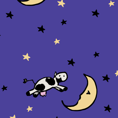 The Cow Jumped Over the Moon fabric by pond_ripple on Spoonflower - custom fabric