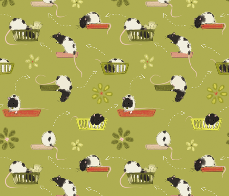 15 Minutes of Moxie in Green fabric by meduzy on Spoonflower - custom fabric