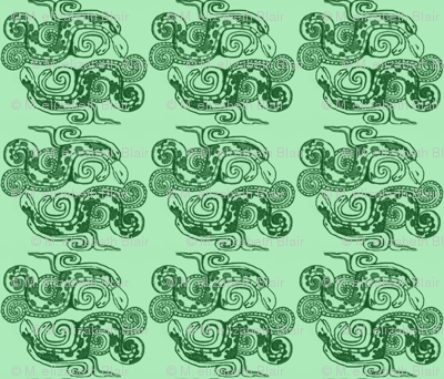 Mayan_snakes on green